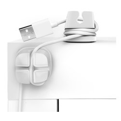Quirky - Cordlets Cable Anchors - If the cords coming and going from your computer have you tangled up reach for the Cordlets Cable Anchors. The pack of 4 helps organize your desk space. Each anchor has an adhesive base and slots for easy cord management.