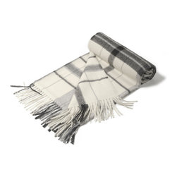 """KUNA - Jimena Throw, Gray - Contrasting two-toned plaid patterns. A bold classic. 63"""" long x 51"""" wide and 23 ounces."""
