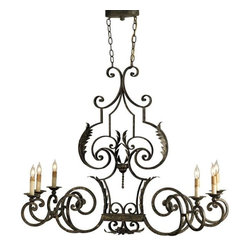 Currey and Company - Currey & Co Assurance Oval Chandelier - Elegant ironwork creates a stunning silhouette for the linear Assurance Chandelier. An Antique Gold Leaf finish gives it a look of the past.
