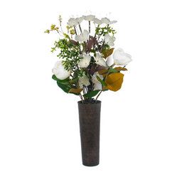 The Firefly Garden - Martini - Martini is an exquisite, contemporary arrangement featuring illuminated Lilies and Magnolia embraced by lush greenery. This stunning piece commands a strong presence in a home or business entry way, or in any other location where a splash of elegance is required.