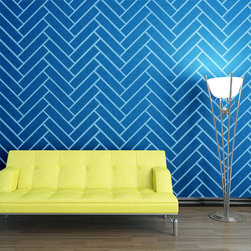 "My Wonderful Walls - Herringbone Pattern Wall Stencil for Painting - Not just for necklaces _ herringbone is also dazzling in the form of pattern wall stencils! Take this timeless style from accessory to art using our herringbone pattern wall stencils to glam up any room of the house. Striking in your sitting room or son's ""big boy"" room, it's easy to see why this is one of the most popular pattern wall stencils on the market. Use our herringbone pattern wall stencil in an otherwise simple room and let its innate sophistication speak for itself. All of our herringbone wall decor stencils are self-adhesive and require zero additional (and potentially harmful) spray adhesive on our end. Just peel and stick! Each pattern piece measures 9""w x 9""h, and each rectangle is 10.5""w x 2.2""h, and each stencil sheet is 2'w x 3'h."