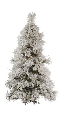 """Vickerman - Flocked Pocono Pine 650WW LED (7.5' x 60"""") - 7.5'' x 60"""" Flocked Pocono Pine, 957 tips, cones flocked, UL 650 LED Warm White Italian Mini Light, on/off switch step, in Bmv base, 65%PVC 35%Hardneedle. Utilizes energy-effiecent, durable LED technology."""