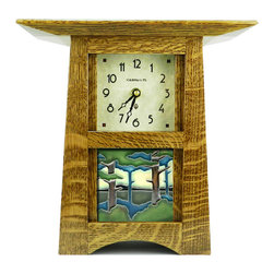 "Schlabaugh & Sons - Schlabaugh & Sons Craftsman Style Tile Clock with 4""x4"" Motawi Tileworks Tile - Craftsman Style Tile Clock with 4""x4"" Motawi Tileworks Tile - handmade in the USA!"