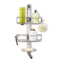 simplehuman - Adjustable Shower Caddy - This convenient shower caddy features three shelves to hold a razor,loofah,toothbrush or other accessories. The stainless steel construction is rust-proof for durable,long lasting use.