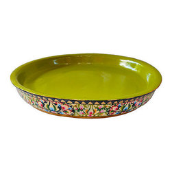 Brilliant Imports - Handpainted Floral Shallow Bowl, Large - From the same shop that designed our offering trays, comes this gorgeous bowl (available in a small size and also in a set).  These ornately painted and absolutely stunning pieces are perfect to display any treasure (we would like to recommend you protect the paint if you place anything that may be damp (plant, food, etc.)).  I fell in love with these when I went to go view the offering trays and asked artists to make these bowls with the special green (rather than red) on the inside.  Let us know how you use this piece in your space - we would love to hear!  Painted in a tantalizing array of colors.  Made in jempinis wood.