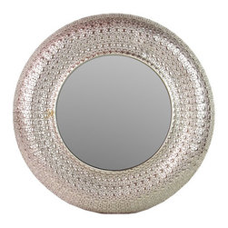 Lanao Mirror - Metal - Bordered by a detailed metal frame, this Lanao Mirror brings out the eclectic world traveler and nomad in all of us. Perfect for an entryway or hallway that needs a break from the angular, this mirror has an elegant, regal effect.