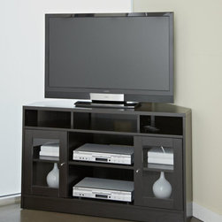 Jesper Office - Jesper Office Corner TV Stand - This contemporary corner TV stand is made of a durable wood construction and comes in a warm shade of espresso. This modern furniture piece will make a great addition to any room. Glass cupboards and multiple shelves add room for organization.