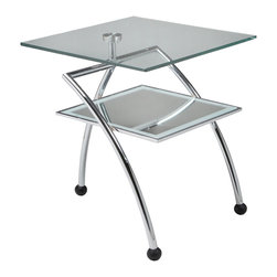 """Pastel Furniture - Pastel Hakkasan Square Glass End Table in Chrome and Wenge Wood - The Hakkasan end table is a simple yet elegant design that can add that stylish and modern flair to your living area. This end table is made with chrome frame and wenge wood with a 20"""" square glass top."""