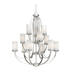 Vaxcel - Oxford Brushed Nickel 12 Light Chandelier - Vaxcel OX-CHU012BN Oxford Brushed Nickel 12 Light Chandelier