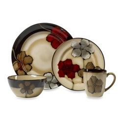 Pfaltzgraff - Pfaltzgraff Painted Poppies 16-Piece Dinnerware Set - Bold and vibrant Painted Poppies will enliven any dinner table. An earthy beige is the backdrop for large, colorful painted poppies, creating a look that is whimsical yet sophisticated.