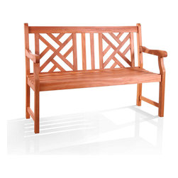 Vifah - Atlantic 2-seater Eucalyptus Wood Outdoor Bench - This attractive outdoor bench is crafted from premium grade eucalyptus hardwood. Similar to teak in durability,this hardwood bench is weather- and insect-resistant.