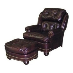 EuroLux Home - New Accent Chair Wood Leather No Nailhead - Product Details