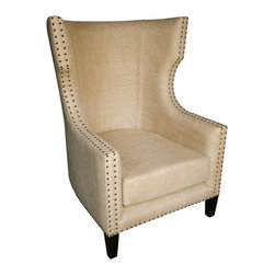 Noir - Noir - Berne Single Chair, Hand Rubbed Black - Hand rubbed black mahogany wood framed wing chair, upholstered in burlap with antique nail head trim.