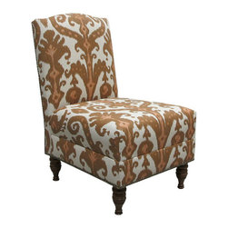 Nate Berkus Marrakesh Clove Slipper Chair - A bold ikat pattern adds a worldly feel, and I like the rich, warm tones of this colorway.