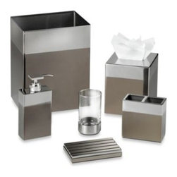 Kenneth Cole Reaction Home - Kenneth Cole Reaction HomeTribeca Waste Basket - The Kenneth Cole Tribeca Bath Ensemble brings a modern edge to your bathroom with its sleek, clean lines and rich color tones. Waste basket features stainless steel construction combined with a darker brushed metal accent for a chic presentation.