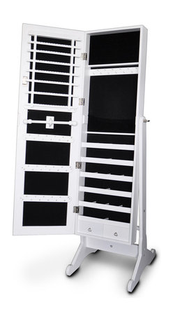GLD - Jewelry Box Jewelry Organizer Cosmetics Box Cabinet - The Modern Style Jewelry Armoire is the perfect and fashion way to organize all your jewelry and accessories! Now you can store and organize all your jewlery and beauty essentails. No longer will mornings be a stressful hunt for matching earrings, bracelets, necklaces, now you will find them hanging at eye level. You will have fun adding your jewelry collection to this armoire. This item is MDF wood Material with painting,no halmful to health and environment.