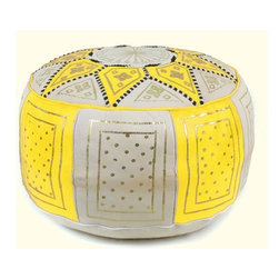 Ikram Design - Yellow and Beige Fez Moroccan Leather Pouf - These combination-colored poufs are particularly beautiful in conservatively decorated rooms, yet they can enhance the beauty of just about any room. Allowing you to pair them up with gorgeous colors, these combination traditional styled poufs are functional and comfortable and of course, they are also beautiful and come pre-stuffed with filling fiber.