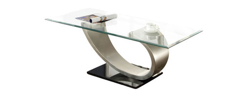 Homelegance - Homelegance Silvera Rectangular Glass Cocktail Table with Brushed Chrome Base - From black rectangular bases rise the sweeping curves of the Silvera collection. Topping each of the brushed chrome supports are glass tabletops. The modern look of each table will bring dramatic flair to your living room.