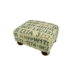 Lava - Stencil Footstool - Upholstered footstool with wooden bun feet and polyurethane foam fill. Measures 15 x 12 x 7. Spot clean only. Handcrafted in USA.