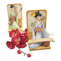 EttansPalace - Japanese Geisha Musical Court Sculptural Collection Set of Two - Celebrate the exotic music that once filled the Imperial palaces of Japan. The beautiful Oriental geisha figurines in these museum-quality sculpts elegantly finger instruments with a rich history in ancient Japan The shamisen, a three-stringed lute, and its companion, the 13-stringed koto. Sculpted with details from obi-wrapped waists to elegant hair pins, these works of decorative art are cast in quality designer resin and hand-painted in a soft, pastel palette as finely collectible sculptures.
