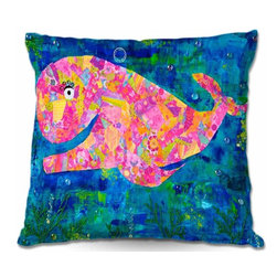 DiaNoche Designs - Pillow Woven Poplin - Wilma the Whale - Toss this decorative pillow on any bed, sofa or chair, and add personality to your chic and stylish decor. Lay your head against your new art and relax! Made of woven Poly-Poplin.  Includes a cushy supportive pillow insert, zipped inside. Dye Sublimation printing adheres the ink to the material for long life and durability. Double Sided Print, Machine Washable, Product may vary slightly from image.