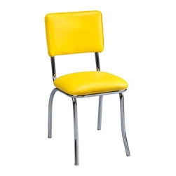 Regal Seating - Retro Diner Chair - Set of Two (Vinyl - Flori - Choose Vinyl: Vinyl - Floridian Sun YellowIncludes (2) Chairs. Frame: Steel. 5 year limited frame warranty. 16.5 in. W x 20 in. D x 33.5 in. H (17 lbs.). Seat Height: 18 in.