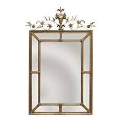 """Uttermost Le Vau Vertical Silver Mirror - Silver leaf undercoat with a heavy dark gray wash and gold leaf highlights. This frame features a generous 1 1/4"""" beveled mirror.the outer panels contain beveled mirrors between the inner and outer frames. A decorative metal cartouche adorns the frame's top. The silver leaf undercoat has a heavy gray wash with gold leaf highlights giving the mirror an aged gold finish"""