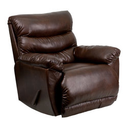 Flash Furniture - Contemporary Tonto Espresso Bonded Leather Rocker Recliner - This Bonded Leather Chaise Recliner has Contemporary styling which will compliment any room in your home while providing all of the comfort you expect.