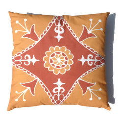 Moroccan Pillow Orange Yellow Suzani African 20 x 20 - Suzani Throw Pillow in Tangerine / Burnt Orange, Yellow Ochre, and Off White color. This is one of my original textile designs printed on 6 oz weight cotton fabric. Back side is solid yellow ochre and this pillow has an invisible zipper for easy access. Can be machine washed separately on delicate cycle, cold water with non-phosphate detergent and line dried. However, dry cleaning is recommended for best result. (Style: Suzani Tile)