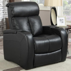 """At Home Designs - Voyager Recliner in Rich Raven Black - Sleek, hi-tech and hi-end the Voyager is the fulfillment of your media chair needs. This recliner is 100% top grain leather on all seating surfaces with matching ebony vinyl on the outside back and outside arms. It sports a high back with curled head rest, bisected back cushion for long lasting and evenly distributed padding and apply padded seat cushions for extended media sessions! The Voyager has the smooth, roll-out chaise lounge with sloping recline function (activated by an inside arm flip lever). Wow! This recliner is cutting edge, an impressive value and sure to be the most sought after spot for your gaming neds or for watching your favorite movies and sporting events!; 100% top grain leather with matching vinyl on outside arms and outside back in rich raven black; Sturdy frame with glued joints and corner blocks, double stitch seams for styling and strength; Smooth, curled head rest, roll-out chaise lounge foot rest with sloping recline function; Inside arm flip release lever; Spring loaded under armrest lined storage; Detachable back for ease in doorways and upstairs, easy assembly; Leggett and Platt reclining mechanism; Arm height: 26"""", Length when fully reclined 68""""; Dimensions:43""""H x 35""""W x 37"""