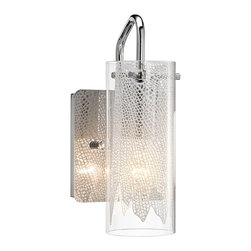 "Elan - Contemporary Elan Krysalis 9 1/2"" High Chrome Wall Sconce - This sleek and seductive modern wall sconce is a great look for a sophisticated space. A clear glass cylinder is held aloft with a slender chrome finish arm attached to a square wall plate. Inside the cylinder is a white metal filigree draped in front of a light diffused with white glass. A beautiful modern design from Elan. Elegant contemporary glass wall sconce. Sleek chrome finish metal. Clear and white textured glass. Draped white metal filigree accent. One max 60 watt bulb (not included). 4 3/4"" wide. 9 1/2"" high. Extends 5 1/4"".  Elegant contemporary glass wall sconce.  Sleek chrome finish metal.  Clear and white textured glass.  Draped white metal filigree accent.  Dimmable using an electronic low voltage dimmer or an LED rated dimmer.  One max 60 watt bulb (not included).  4 3/4"" wide.  9 1/2"" high.  Extends 5 1/4""."
