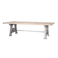 "Four Hands - Nash 106"" Dining Table - If you hope to spark dinner conversation in your home, start with a table that'll get people talking. Here, a top of reclaimed wood is joined to a base of old factory machine parts — adding up to true salvage style."