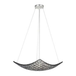 841240-1ST Pendant Constructivism - Pendant of individually cast Midnight grey glass pillow-shaped pieces, fused at high temperature in a hand-laid cobblestone pattern. The individual lenses create a fascinating light diffuser & sculptural form. Exposed metal in hand-applied silver leaf.