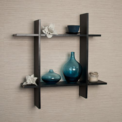 Danya B - Asymmetric Black Laminate Square Floating Wall Shelf - Decorative wall shelf shows 4 asymmetric sides to a square which intersect and connect with each other. Made of laminated MDF, it attaches to the wall with two keyhole perforations, which secure to nails or screws showing no visible hardware.