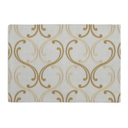 Pale Yellow Embroidered Scroll Chain Custom Placemat Set - Is your table looking sad and lonely? Give it a boost with at set of Simple Placemats. Customizable in hundreds of fabrics, you're sure to find the perfect set for daily dining or that fancy shindig. We love it in this elegant, classic swirling chainlink trellis embroidered in pale yellow & gold.