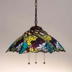 """Meyda Tiffany - Meyda Tiffany 11059 Stained Glass / Tiffany Down Lighting Pendant Spira - 21"""" W Spiral Grape PendantA Bluebird In Flight Hovers Above Spiraling Concord Purple Jewels, Vineyard Green Leaves And Glistening Dew Kissed Bark Brown Vines In This Beautiful Shade Design3 60w max medium base bulbs (Not Included)Operates on 3 separate pull chain switches"""