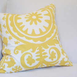 """17""""x17"""" Suzani Throw Pillow Cover - Yellow - This fun throw pillow cover brings fun and cheer to any space. 17"""" x 17"""". Heavy cotton, mustard yellow, and white. Fold-back opening."""