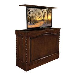 Cabinet Tronix Pop UP TV Lift Cabinet - TV Lift Cabinet Coronado, Made in USA, Pearwood, Against Wall, 360 Swivel - Coronado Pearwood Distressed Finish