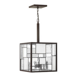 Hinkley Lighting - Mondrian Medium 4-Light Pendant - The Mondrian Collection features multiple panes of glass arranged in a Cubist design. Buckeye Bronze Finish With Copper Foil Bound Glass Panels. ADA Compliant. 60 in. of chain and 72 in. of leadwire are included for installation. 7 in. diameter canopy.