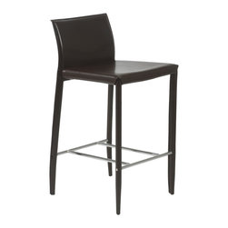 Eurostyle - Shen-C Counter Chair (Set Of 2)-Brn - The party always ends up in the kitchen. You can be prepared by having these elegant counter chairs waiting for your guests. The exquisite design and sumptuous leather let others know that you have excellent taste in addition to being a good host.