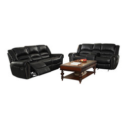 Homelegance - Homelegance Center Hill 2 Piece Living Room Set in Black Leather - With plush seating that is uncommon in most traditional looks, the design of Center Hill Collection will be a welcome addition to your living room. Offered in bonded leather match, the covering comes in either dark brown or black. With traditional nailhead accent lending an elegant statement to each piece and the easy recline mechanisms adding to the comfort, the lovely Center Hill Collection will provide your friends and family a warm environment to spend their quality moment.