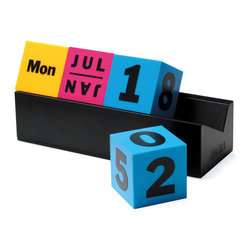 Colorful Cubed Calendar - Stay on top of things with this bright desktop calendar. The month, day of the week, and date are all different colors, which keeps things interesting. This beautiful calendar is from the Museum of Modern Art product collection.