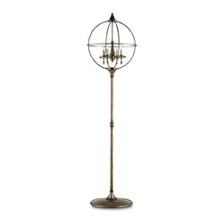 Currey & Company - Currey & Company Rondeau Floor Lamp CC-8053 - The Rondeau floor lamp has a concentric orb design with four interior lights. Crafted with strong Wrought iron, the Rondeau is finished with a steely Pyrite Bronze making it uniquely distinctive.