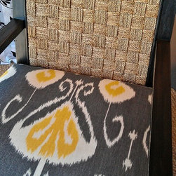 Vanguard Chair with Custom Yellow / Navy Fabric & Chair Back - Vanguard Chair with Custom Yellow / Navy Fabric & Chair Back $2100