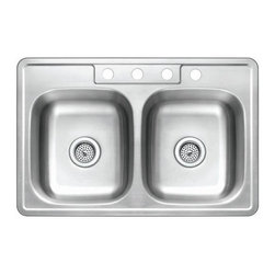 Kingston Brass - GKTD33210 Self-Rimming Double Bowl Kitchen Sink Satin Nickel GKTD332210 - The self-rimming kitchen sink features two square-shaped basins and four drilled holes built in superior quality stainless steel for durability and a long-lasting experience.Manufacturer: Kingston BrassModel: GKTD332210UPC: 663370250064Product Name: Gourmetier GKTD33210 Self-Rimming Double Bowl Kitchen Sink, Satin NickelCollection / Series: StudioFinish: Stainless SteelTheme: N/AMaterial: Stainless SteelType: Kitchen SinksFeatures: 304 Grade Stainless Steel. resist from chips and scratches