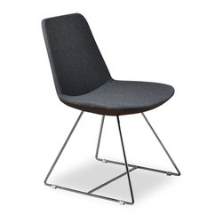 Inmod - Vino CSB Dining Chair (Set of 2), Grey Fabric - In the market for fun, modern retro chair for your home or apartment? Look no further, our Vino CSB Dining Chair is exactly what you've been looking for! Simple yet gracious in form & function, the Vino CSB Dining Chair is lightly cushioned with polyurethane foam padding & supported by a sturdy internal steel frame.