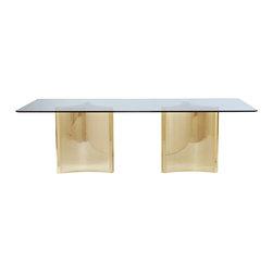 Bernhardt Interiors - Bernhardt Interiors Abbot Metal Dining Table with Glass Top 326-1050/353-772 - Bernhardt Interiors Abbot Metal Dining Table with Glass Top 326-1050/353-772.