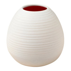 Pigeon Toe Ceramics - Ribbed Bud Vase, Bone - A hand-thrown, gently tapered bud vase with the throwing lines left exposed to add texture to the unglazed porcelain exterior.  Your choice of interior color, shown in Ruby.