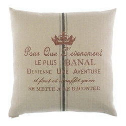 """Canaan - 24"""" x 24"""" Adventure Natural French Writing Print Throw Pillow - 24"""" x 24"""" Adventure natural French writing print fabric throw pillow with a feather/down insert and zippered removable cover. These pillows feature a zippered removable 24"""" x 24"""" cover with a feather/down insert. Measures 24"""" x 24"""". These are custom made in the U.S.A and take 4-6 weeks lead time for production."""