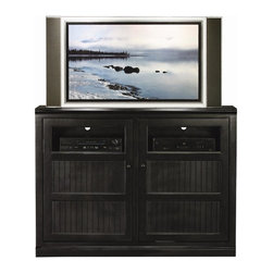 Eagle Furniture Manufacturers - Coastal Thin Flat Panel Entertainment Console (Black) - Finish: Black. Two bead board doors with glass in top panels. Two fixed wood shelves. Four adjustable wood shelves. Decorative molding. Bead board detailing. Made from poplar, birch solids and veneers. Warranty: Eagle's products are guaranteed against material defects for one year from date of delivery to the dealer. Made in USA. No assembly required. 55 in. W x 17 in. D x 40.75 in. H (109.67 lbs.)The Coastal collection fits today's casual lifestyle. Recessed doors, bead board panels and solid wood moldings provide a clean, contemporary style that is complemented by a choice of painted or rich stained finishes.